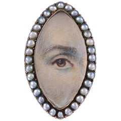 Antique Georgian Lover's Eye Pearl  Gold Ring