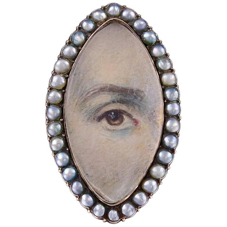 Antique Georgian Lover's Eye Pearl  Gold Ring