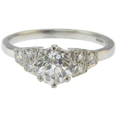 Old European Cut Diamond Engagement Ring, Art Deco Style, Diamond Shoulders