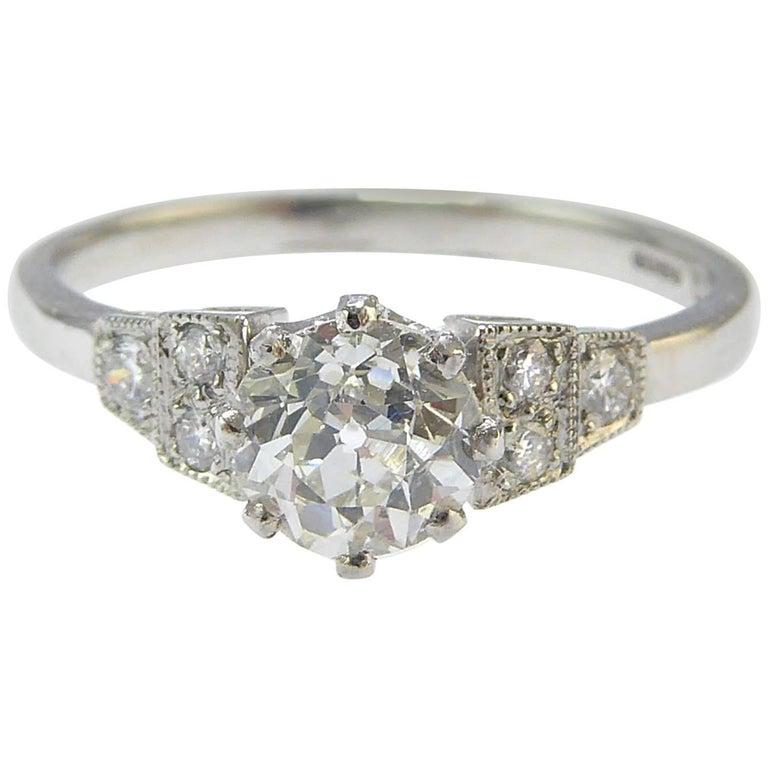 Old European Cut Diamond Engagement Ring, Art Deco Style, Diamond Shoulders