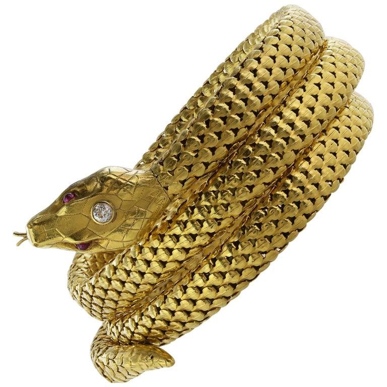 Snake Coil Yellow Gold Bracelet