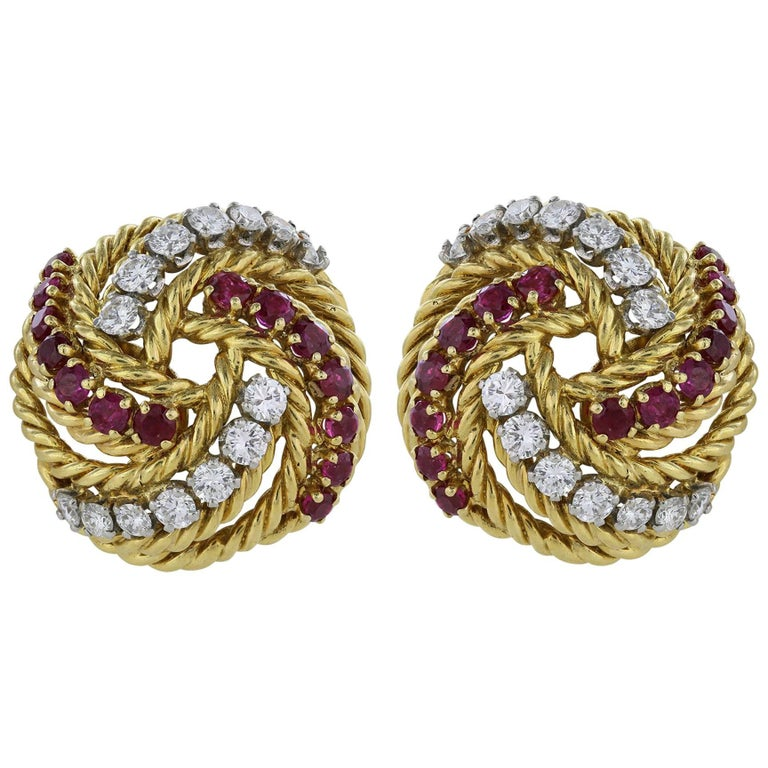 Ruby Diamond 18 Karat Yellow Gold Knot Clip Earrings