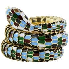 Harlequin Enamel Gold Snake Bracelet