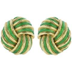 Tiffany & Co. Green Enamel Gold Clip Earrings