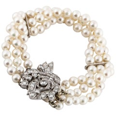 Three Strand Pearl Diamond Bracelet