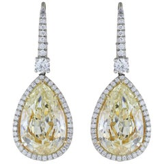 14.50 Carat Yellow Canary Pear Shape Diamond Drop Earring