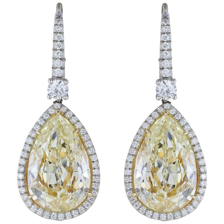 14.50 Carat Yellow Canary Pear Shape Diamond Drop Earring