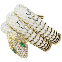 White Enamel Gold Snake Bracelet