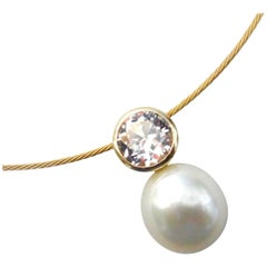 "Michael Kneebone Paspaley South Seas Pearl ""Silver Sapphire"" Pendant Necklace"