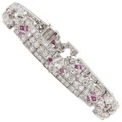 Platinum Diamond Ruby Deco Bracelet