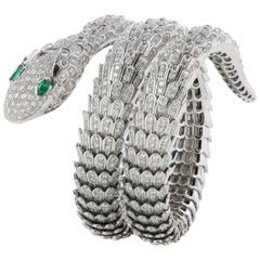 Diamond Emerald Eye Snake Bracelet