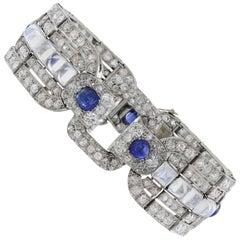 Art Deco Sapphire Moonstone Diamond Platinum Bracelet