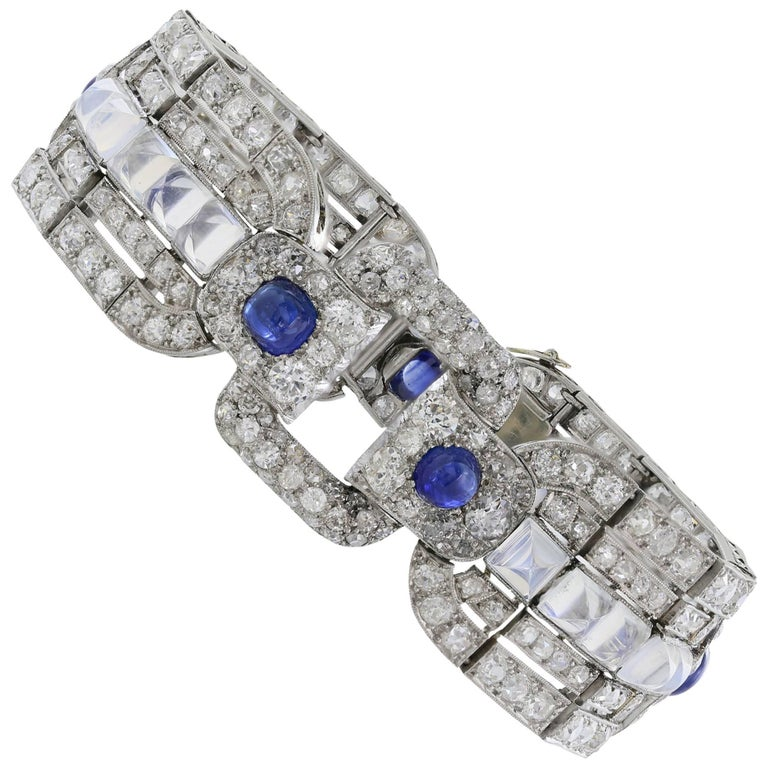 Art Deco Sapphire Moonstone Diamond Platinum Bracelet For Sale
