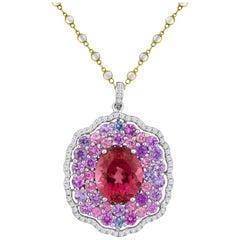 Exquisite Magenta Tourmaline Purple Pink Blue Spinel Diamonds Gold Pendant