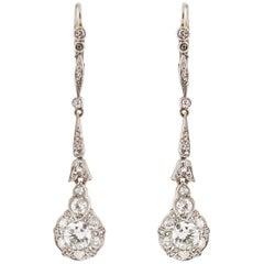 Platinum 18 Karat Edwardian Diamond Cluster Earrings