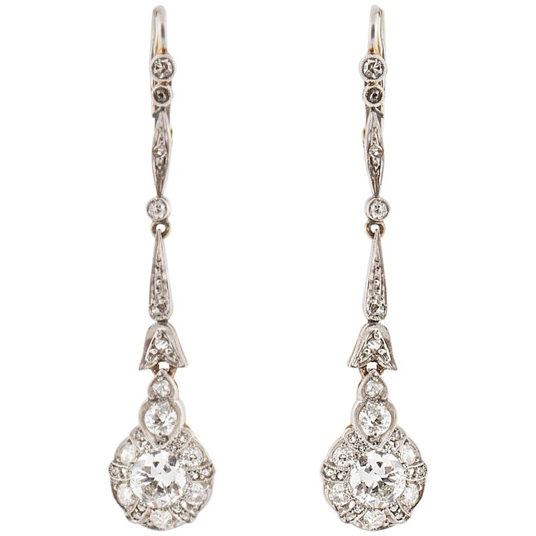 Platinum 18 Karat Edwardian Diamond Cluster Earrings