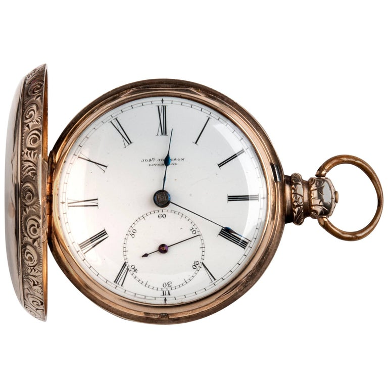 Joseph Johnson Liverpool Yellow Gold Hunter Pocket Watch, circa 1820s 1