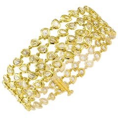 11.00 Carat Pear Shaped Diamond Gold Bracelet