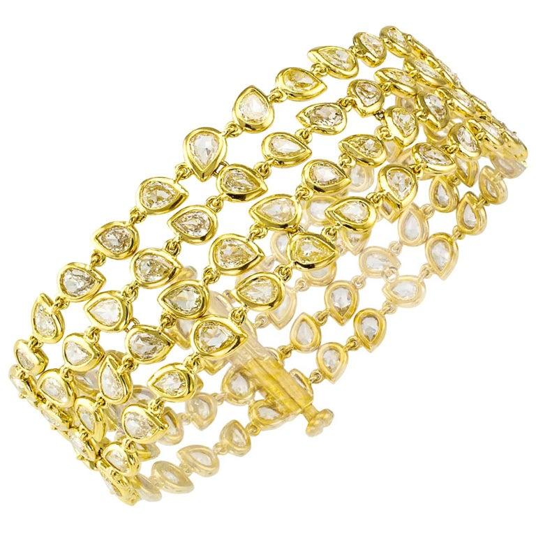 11.00 Carat Pear Shaped Diamond Gold Bracelet