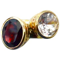 "Michael Kneebone Red Garnet, Silver Sapphire 18 Karat Gold Stacking ""Leah"" Rings"