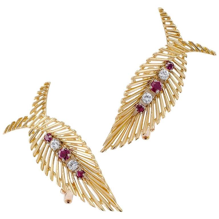 Tiffany & Co. 1950s Ruby Diamond Gold Retro Earclips