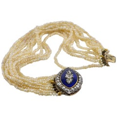 Pair of Georgian Bracelets Natural Pearl Diamond Royal Blue Enamel