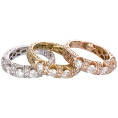 Set of Engraved Yellow White Rose Gold Diamond Eternity Rings