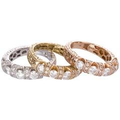 Set of Engraved 18 Karat Yellow White Rose Gold Diamond Eternity Rings