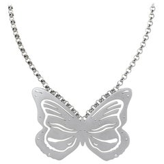 Lizunova Sterling Silver and Diamond Butterfly Pendant Necklace