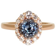 Lizunova Spinel and Diamond Halo Rose Gold Engagement Ring; Made to Order
