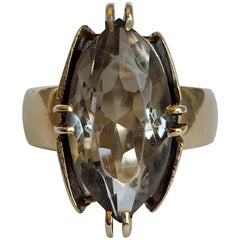 1960s Midcentury Brutalist Smoky Quartz Chunky Gold Statement Vintage Ring