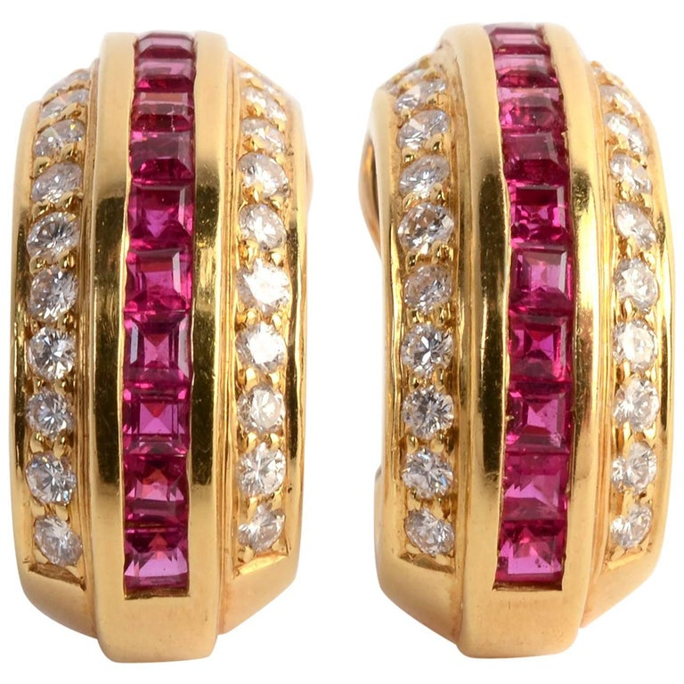 Cartier Ruby and Diamond Hoop Earrings For Sale
