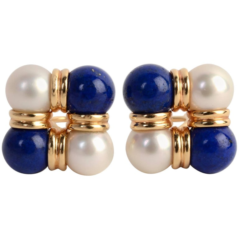 Trianon Lapis Lazuli and Pearl Earrings