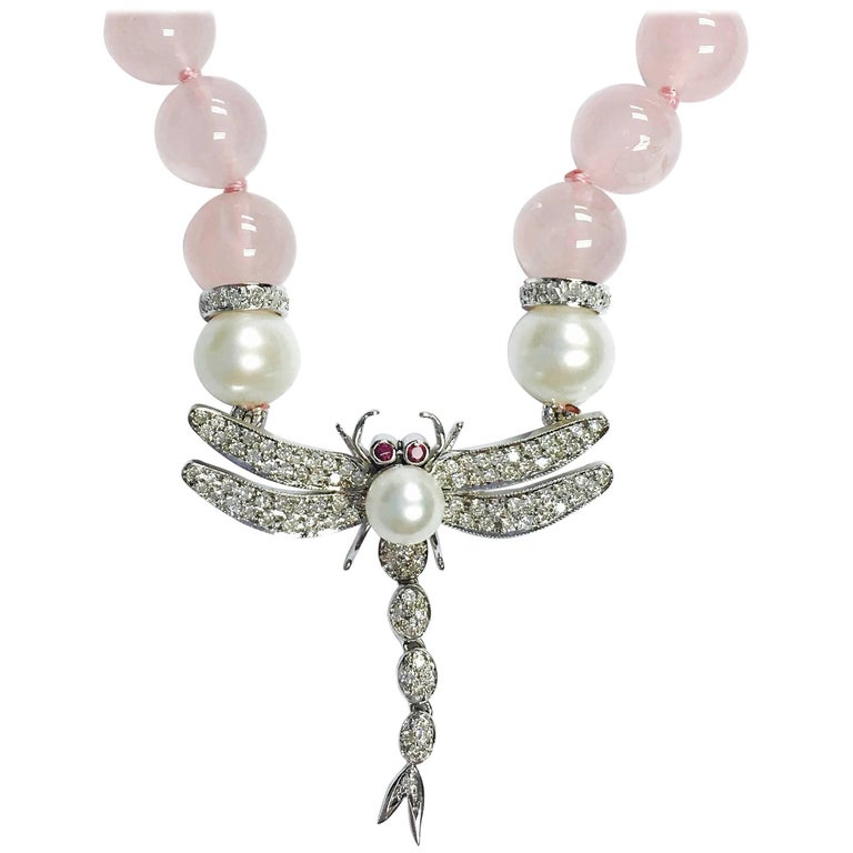 Diamond Rose Quartz Pearl and Ruby Dragonfly Necklace