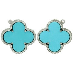 Van Cleef & Arpels Vintage Alhambra Turqoise 18 Karat White Gold Earrings