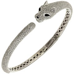 Diamond Onyx White Gold Panther Bangle Bracelet