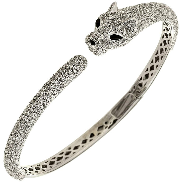 Diamond Onyx White Gold Panther Bangle Bracelet
