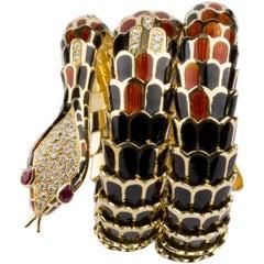 Diamond Ruby Enamel Gold Serpenti Bracelet