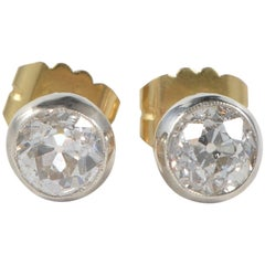 Antique Victorian 2.50 Carat Diamond Gold Silver Stud Earrings