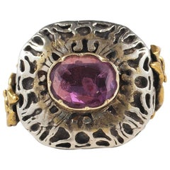 16th Century Natural Ruby Gold and Silver Rare Ring