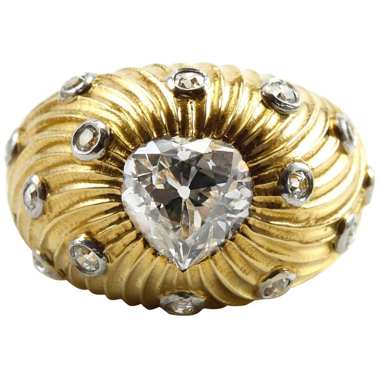 Tiffany & Co. Schlumberger Old-Cut Heart Gold Ring