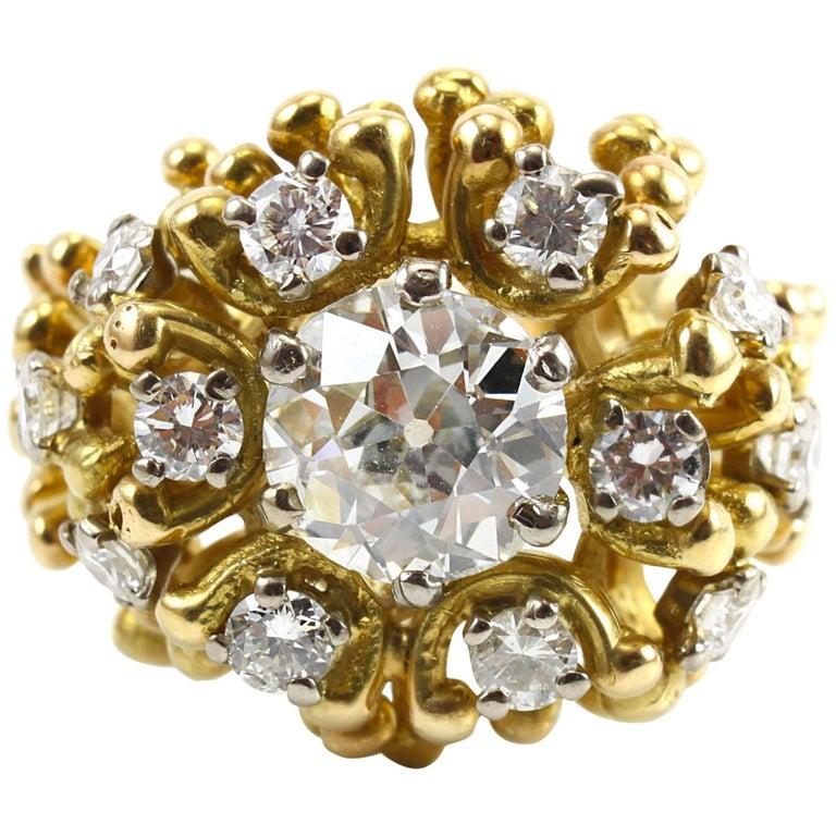 Alan Gard 2 Carat Old Cut Diamond Gold Ring