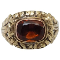 Georgian Hessonite Garnet Paste Gold Solitaire Ring