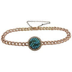 15K Victorian Turquoise Pearl Gold Bracelet