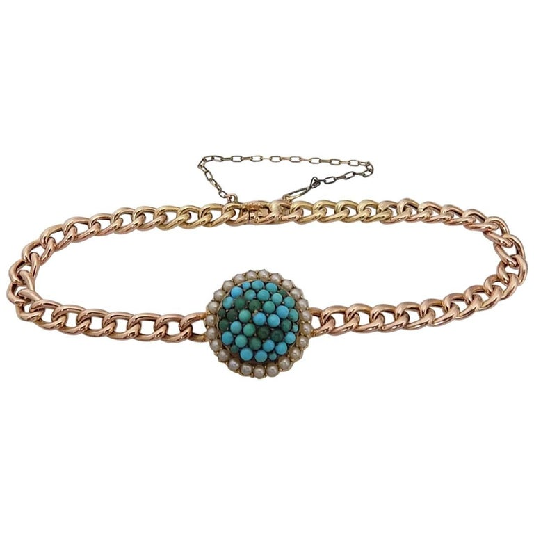 Victorian Turquoise Pearl Gold Bracelet