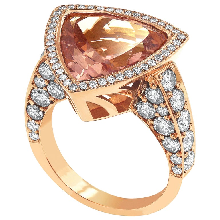 Trilliant Cut Morganite Diamond Rose Gold Cocktail Ring For Sale at 1stdibs