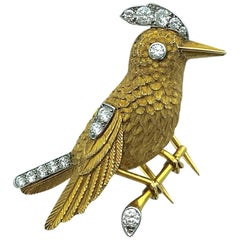 1950s Cartier Paris Diamond Gold Platinum Bird Brooch