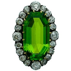 19th Century French Antique Peridot Diamond Silver Gold Brooch