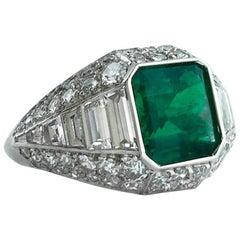 Art Deco French Emerald Diamond Platinum Ring