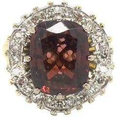 Vintage Garnet and Diamond Ballerina Ring in 18 Carat Gold